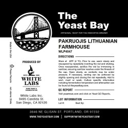 The Yeast Bay WLP4047 Pakruojis Lithuanian Farmhouse