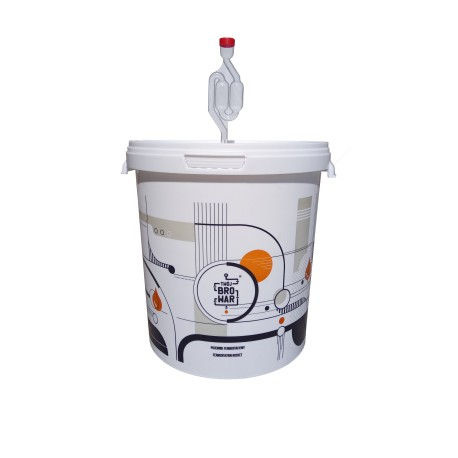 White fermentation bucket 15L with airlock