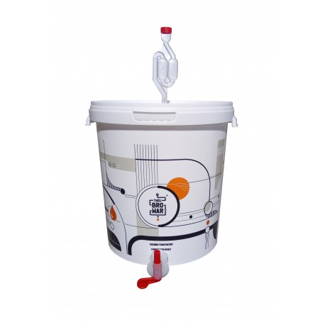 White fermentation bucket 15L with air lock and tap