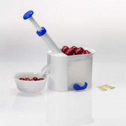 Pitting machine for cherries and wild cherries with a pit container