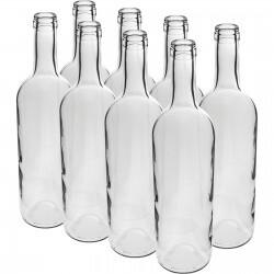 Butelka na wino 0,75L biała 8szt
